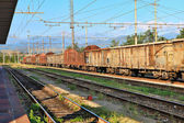 Rusty freight cars. Cuneo, Italy. — Stock Photo