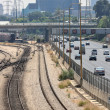 Railways and highway in Tel Aviv, Israel. - Stock Photo