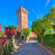 Alley and red tall medieval tower in Piedmont, Italy. — Foto Stock