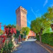 Alley and red tall medieval tower in Piedmont, Italy. — ストック写真