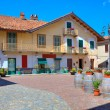 Royalty-Free Stock Photo: Small plaza in italian town of Barolo.