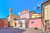 Two churches in town of barolo, Italy. — Stock Photo