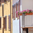 Flowers in the pots on house balcony in Italy. — Stock Photo