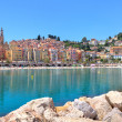 Small town of Menton on Mediterranean sea in France. — Stock Photo #27481953