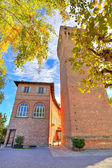 Medieval tower in small italian town. — Stock Photo