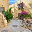 Street and stonrd houses at jewish quarter in Jerusalem. — Stock Photo