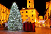 Christmas tree on city square. Alba, Italy. — Stock Photo