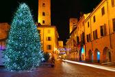 Christmas tree on central plaza. Alba, Italy. — Stock Photo