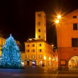 Stock Photo: Christmas tree on city square in Alba, Italy.