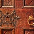 Stock Photo: Wooden door with golden handle.