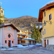 Town square and small chapel in Limone Piemonte. — Stock Photo #35660255