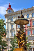 Sculptural fountain in Prague. — Stock Photo