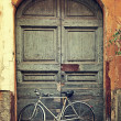 Bicycle against old wooden door. — Stock Photo #36925777