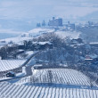 Stock Photo: Road through wintry hills and vineyards in Italy.