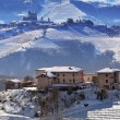 Stock Photo: Hills and vineyards of Piedmont covered with snow.