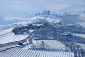 Road through wintry hills and vineyards in Italy. — Stock Photo