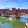 Stock Photo: Castelvecchio bridge across river.