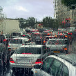 Stock Photo: Traffic jam on rainy day in Paris.