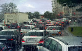 Traffic jam on rainy day in Paris. — Stock Photo