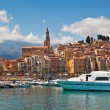 View of marina and old part of Menton, France. — Stock Photo