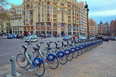 Bicycle station on city square. — Stock Photo