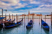 Gondolas and San Giorgio Maggiore church in Venice. — Stock Photo