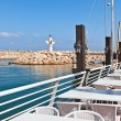 Outdoor restaurant on marina in Ashqelon, Israel. — Stock Photo