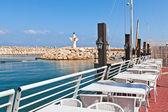 Outdoor restaurant on marina in Ashqelon, Israel. — Stock Photo
