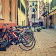 Bicycles in a row on the street of Ventimiglia. — Stock Photo
