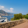Sidewalk and view on Monte Carlo, Monaco. — Stock Photo