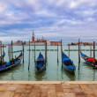 Gondolas on Grand Canal under overcast sky in Venice. — Stock Photo #44537515