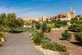 Urban park, Tower of David and citadel in Jerusalem. — Stock Photo