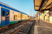 Train on empty station in Alba, Italy. — Zdjęcie stockowe