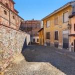 Narrow cobblestone street in town of La Morra. — Stock Photo #50243775