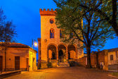 Town square and castle of Barolo early in the morning. — Stock Photo