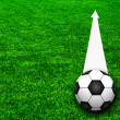 Soccer football field stadium grass line ball background on the — Stock Photo #12626137