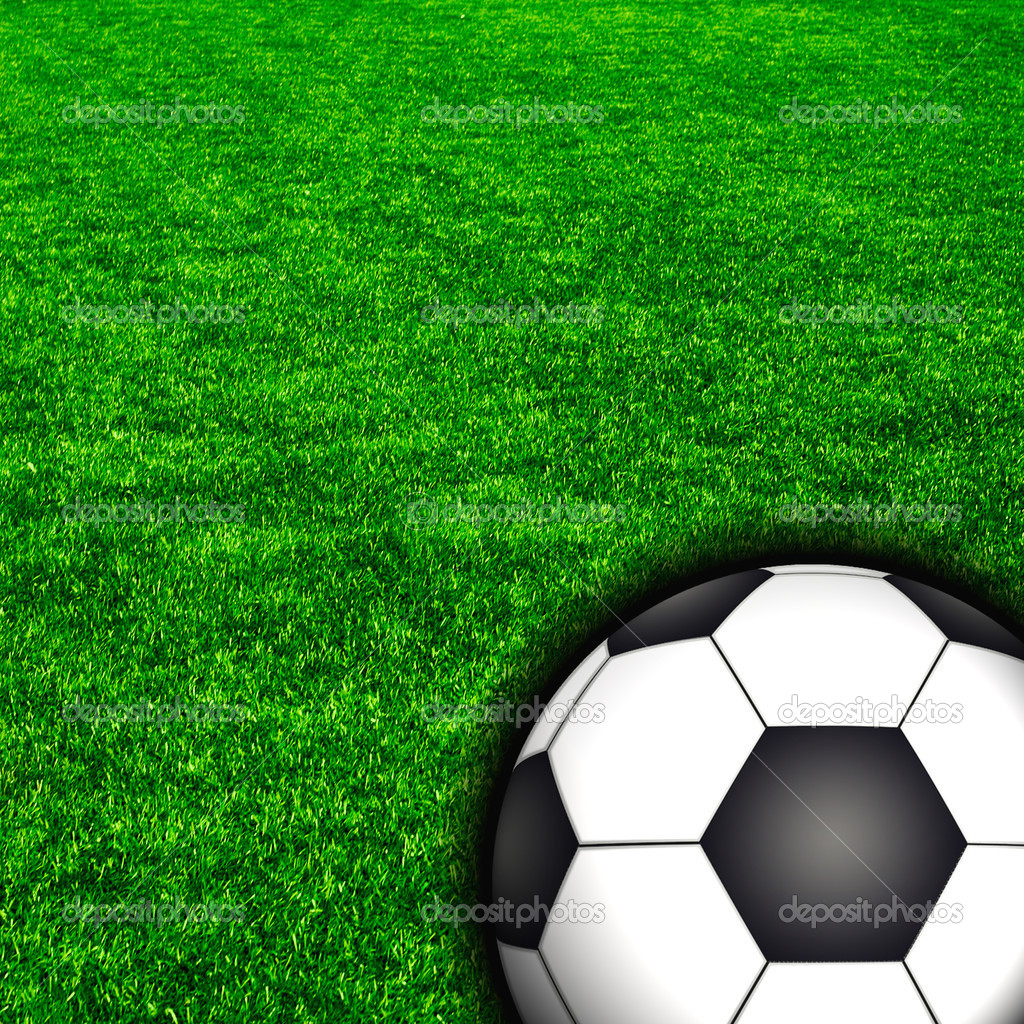 Soccer football field stadium grass line ball background  on the grass — Stock Photo #12626185