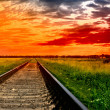 Stock Photo: Railway into the bloody sunset