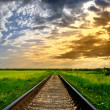 Railway into the sunset — Stock Photo