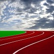 Athletics Track Lane with beautiful sky — Stock Photo