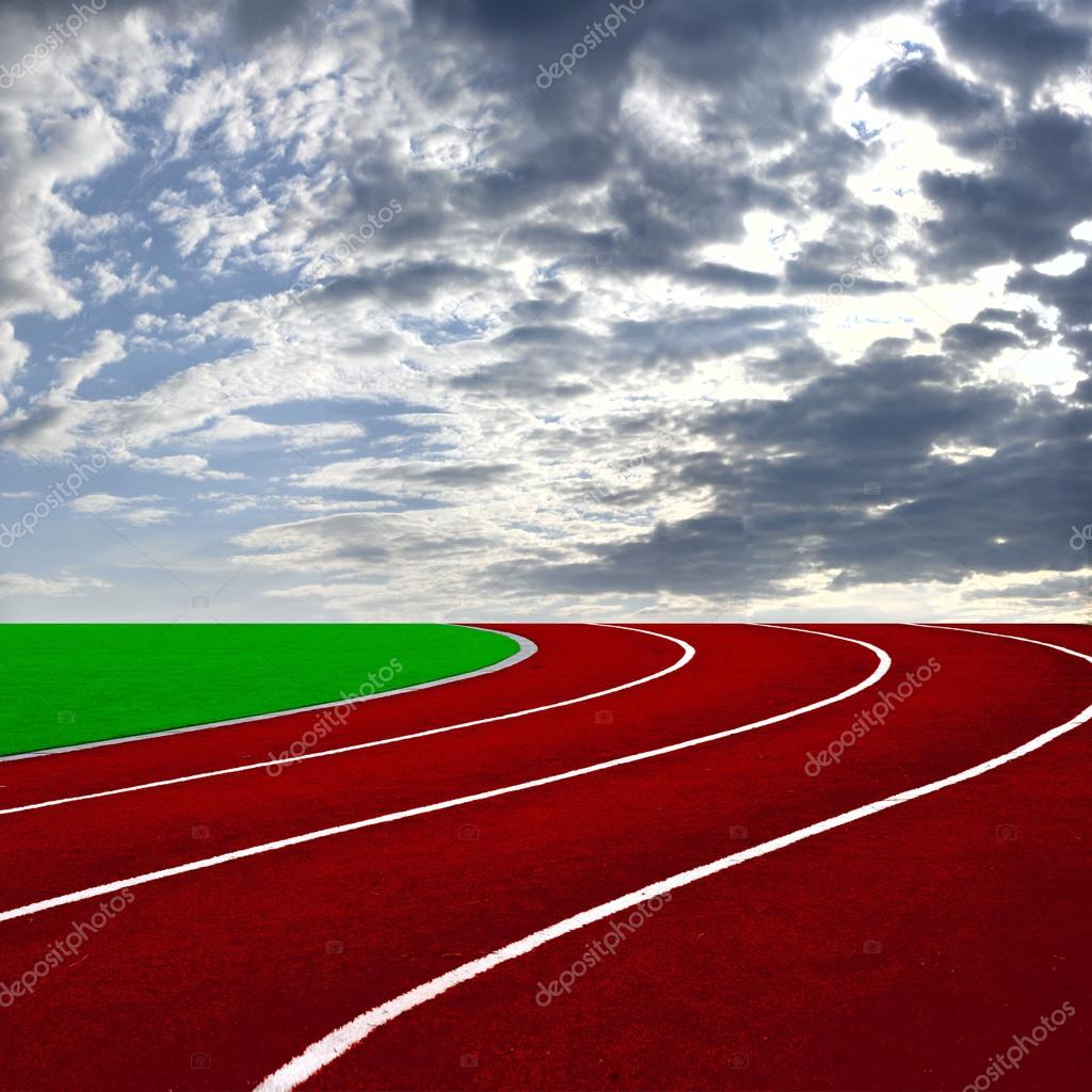Athletics Track Lane with beautiful sky — Stock Photo #12668586