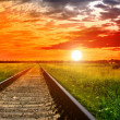 Railway into the bloody sunset — Stock Photo