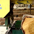 Big log being cut into lumber by a band saw mill - Stock Photo