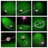 Collage of footbal poster with stadium arena grass and soccer ba — Stock Photo