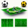 Stock Photo: Collage. Soccer field tactic table, map on perspective geometry,