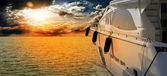 Private motor yacht to incredible sunset.Sailboat, motor boat — Stock Photo
