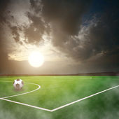 Soccer ball on the stadium — Stock Photo
