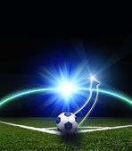 Soccer football field and trajectory of soccer ball shot  — Stock Photo