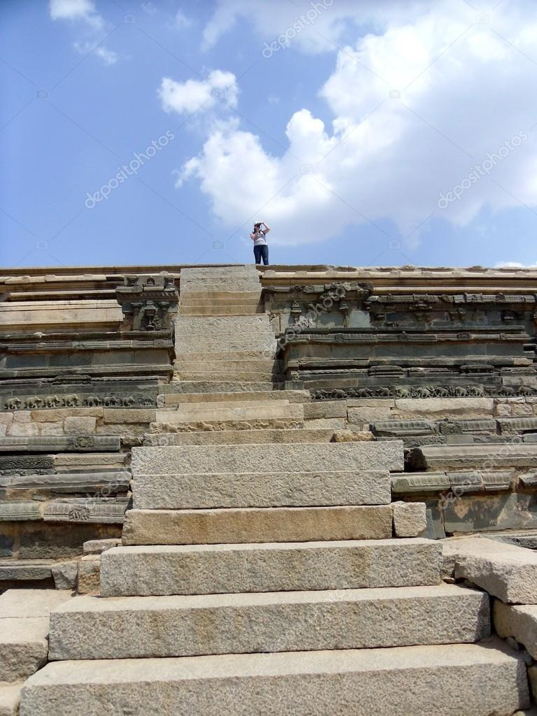 Hampi  is a village in northern Karnataka state, India. It is located within the ruins of Vijayanagara, the former capital of the Vijayanagara Empire — Stock Photo #12321121