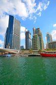 Dubai yat limanı cityscape, birleşik arap emirlikleri — Stok fotoğraf